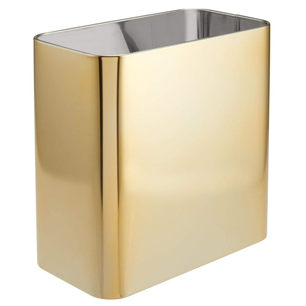mDesign Rectangular Metal Small Trash Can Wastebasket, Garbage Container Bin - for Bathrooms, Powder Rooms, Kitchens, Home Offices - Solid Stainless Steel - Soft Brass