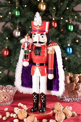 Clever Creations Red Prince Wooden Nutcracker Wearing Purple Cape Holding Toy Nutcracker Gift | Festive Decor | Perfect for Shelves and Tables | 100% Wood | 14'' Tall by Clever Creations (Image #1)'
