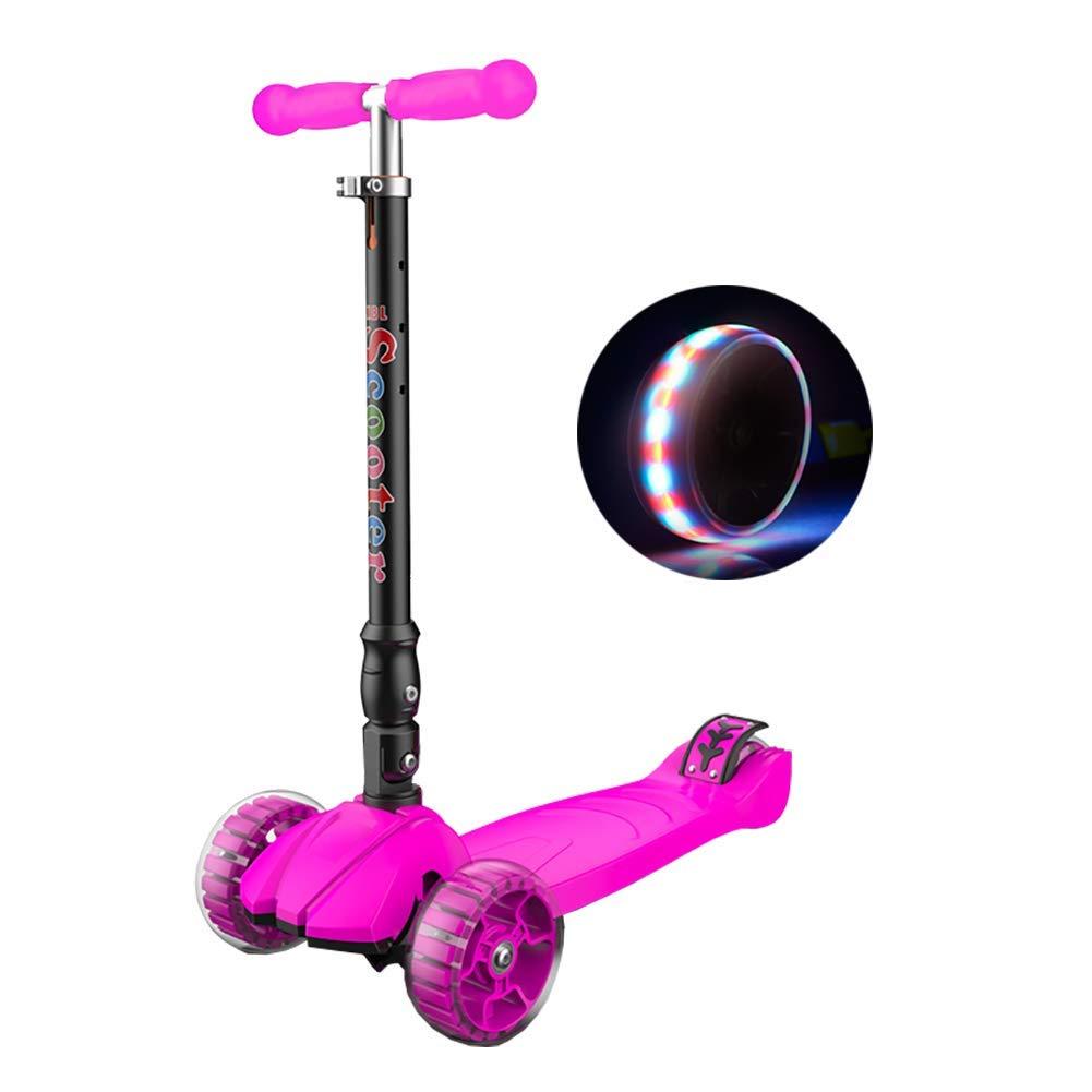 CMXIA Il Flash a Quattro Ruote del motorino dei Bambini Pieghevoli di Altezza Regolabile per i Ragazzi e Le Ragazze 3-14 Anni del motorino del principiante ( Colore   rosa )