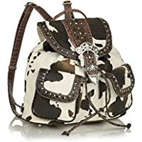 Ladies Faux Leather Trim Western Bling Backpack, Cow Print w/ Rhinestone Buckle