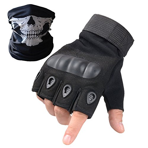 Tactical Gloves - Men's Wear-resistant Military Airsoft Gloves for Sporting Shooting Paintball Hunting Riding Motorcycle - Bundled With Skull Face Tube Mask£¨Solildshell Fingerless Black,XL)
