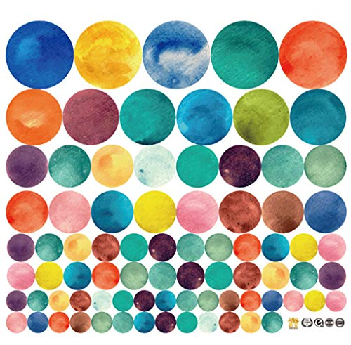MULLSAN 80pcs Colorful Polka Dot Vinyl Circles Dots Wall Sticker Peel and Stick Wallpaper for Kids Rooms Home Decor ()