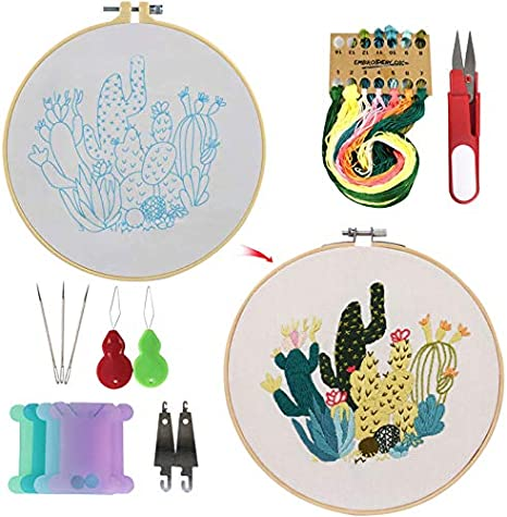 3 Bamboo Embroidery Hoop 3pack 1 Cross Stitch Kit Including 3 Embroidery Clothes with Flowers Plants Pattern 3 Pack Full Range of Stamped Embroidery Starter Kit with Pattern and Instructions