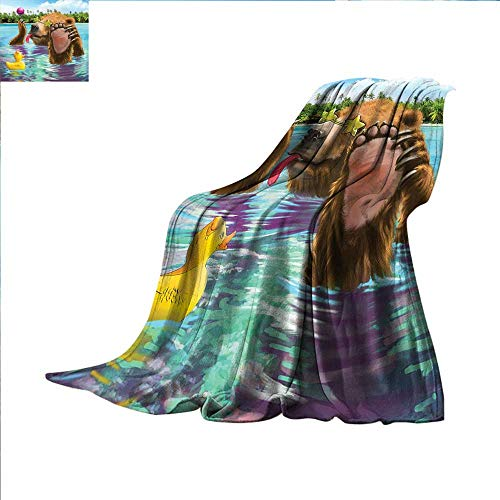 - Animal Travel Blanket Happy Fancy Wild Bear in The Sea by The Beach with its Sunglasses Candies Print Dog Blanket 62 x 60 inch Multicolor