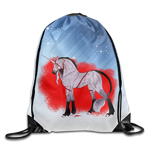 Halloween Bloody Unicorn Unisex Drawstring Backpack Travel Sports Bag Drawstring Beam Port - Bloody Unicorns