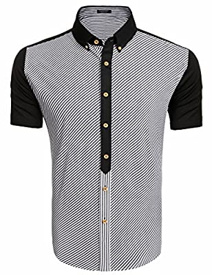 Coofandy Mens Casual Short Sleeve Slim Fit Plaid Button Down Dress Shirt