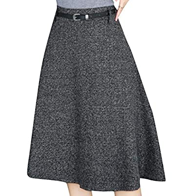Coolred-Women Wollen Panelled Slim Casual Fall Winter Skater Skirt