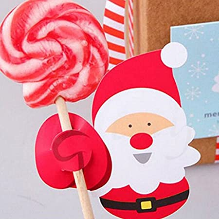 Kicode Paper Card Lollipop Sticks For Candy Chocolate Xmas Party