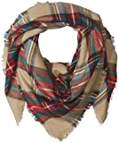 PURE STYLE Girlfriends Women's Oversize Classic Square Plaid Scarf with Fringe Edge Detail Winter Scarf Shawl Wrap, Beige, One Size