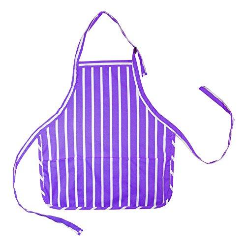 DALIX Apron Commercial Restaurant Home Bib Spun Poly Cotton Kitchen Aprons (3 Pockets) in Pinstriped Purple/White