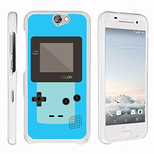 MINITUTLE Compatible with HTC One A9, HTC Aero [Snap Shell] Hard Plastic Slim Fitted White Snap On Case Protector w/Unique Designs - Blue Gameboy Color (Men Htc One For Camo Phone Cases)