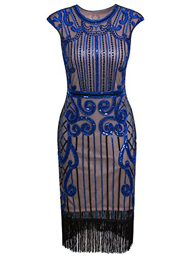 (Vijiv Wome's 1920s Flapper Dress Costume Sleeves Sequin Beaded Cocktail Gatsby Dress, Pink Blue,)