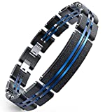 WANGOK Men Bracelet Stainless Steel Bracelets Black and Blue Links with Fashion Sand Blasting Bracelets for Men in 7.9-8.5'' (with Centre Plate)