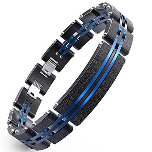 - WANGOK Men Bracelet Stainless Steel Bracelet Black Blue Fashion Sand Blasting in 7.9-8.5 inch (Bracelet Centre Plate)