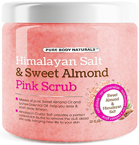 Pure Body Naturals Exfoliating Himalayan Scrub with Sweet Almond & Lychee Oil, 12 fl.oz.