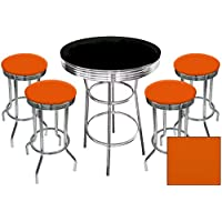 5 Piece Retro Black Bistro Table & Pub Set With 4 Bar Stools with Colored Vinyl Seat Cushions (Orange Textured)
