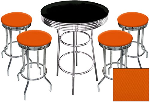 5 Piece Retro Black Bistro Table & Pub Set With 4 Bar Stools with Colored Vinyl Seat Cushions (Orange Textured) 510V3fISFdL