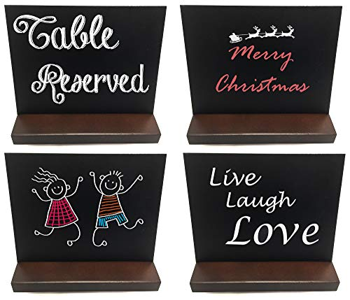 Mini chalkboard signs with stand. These small chalkboards can be used on table tops for numbering, drinks, menus and much more. Double-sided. 4 5x6 mini chalk boards, including chalk, per package.