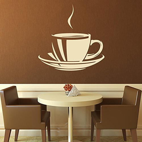 azutura Cup Of Tea Coffee Wall Sticker Food Drink Wall Decal Kitchen Cafe Home Decor available in 5 Sizes and 25 Colours X-Large Basalt Grey
