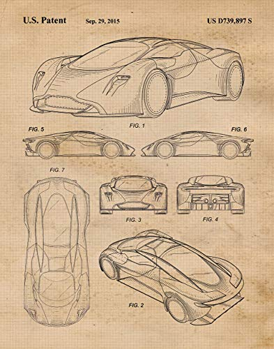 Original Aston Martin DP-100 Concept Patent Poster Prints- Set of 1 (One 11x14) Unframed Photo- Great Wall Art Decor Gifts Under $15 for Home, Office, Studio, Garage, Man Cave, Cars & Coffee Fan (Concept Car Poster)
