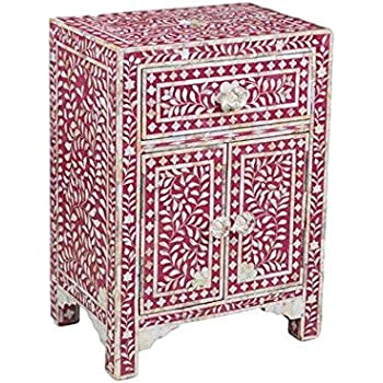 Charmant Handmade Bone Inlay Furniture   Side Table Floral Pattern Cabinet (Pink)