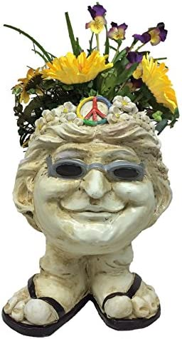 Muggly Homestyles 37494 Hippie Flower Child Janice Antique White Accent 13″ Face Planter Garden Statue Holds 4″ Pot