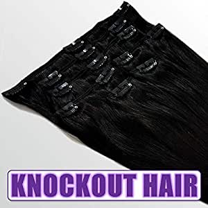 Knockout Hair 120 Grams Clip In Human Hair Extensions - 7 Pieces - 15 Clips - 18 Inch #1 Jet Black