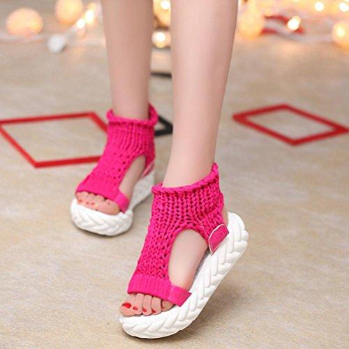 Sandalias Digood Para Mujer, Señoras Adolescentes Chicas Puntada De Plataforma Superior Puntera Chunky Sole Sandalias Hot Pink
