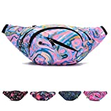Ausion Waist Pack Bag, Chest Shoulder Fanny Pack Pouch with 4-Zipper Pockets, Adjustable Belt for Workout Vacation Hiking Running, for iPhone X 8 7 Plus 6S 5 amsung Galaxy S9 S8 Plus Note 8, Purple