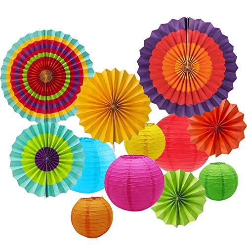 Sonnis Hanging Fiesta Paper Fan Lanterns Decoration, Mexican Fiesta/Carnival/Kids Party/Birthday/Christmas Decor,Party/Events Decor, Home Decor Supplies Flavor (Multicolor-01)]()