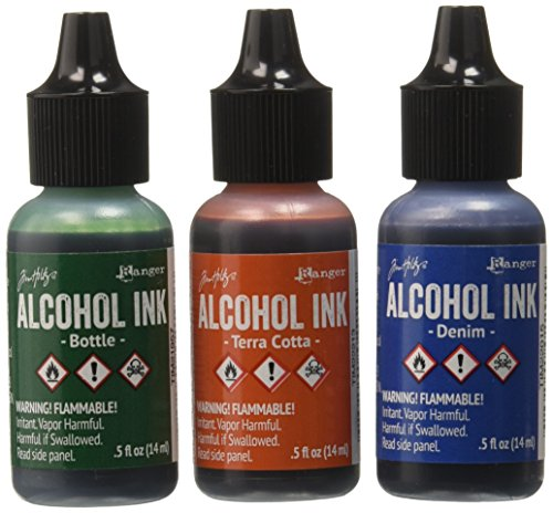 Ranger Adirondack Alcohol Ink 1/2-Ounce, 3-Pack, Rustic Lodge, Bottle/Terra Cotta/Denim