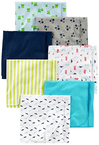 Baby Blanket Flannel Swaddling (Simple Joys by Carter's Baby Boys' 7-Pack Flannel Receiving Blanket, Blue/White, One Size)