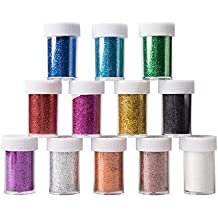 Wewin 12pcs Slime Supplies Glitter Powder Sequins ,Assorted Colors