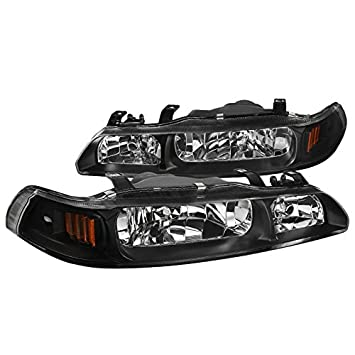 Fits Acura Integra JDM Black 1 Piece Replacement Headlights Lamps Left+Right