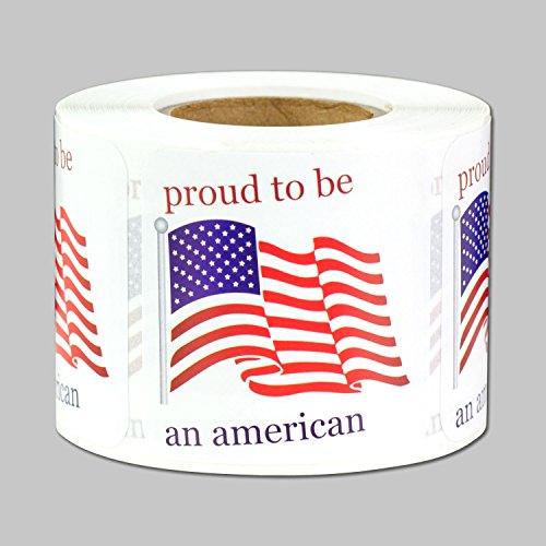 Proud to be an American Flag Labels Stickers (White Red Blue / 1.5