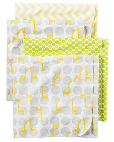 Carter's Baby One Size 4-Pack Flannel Receiving Blankets, Yellow Giraffe, One Size ()