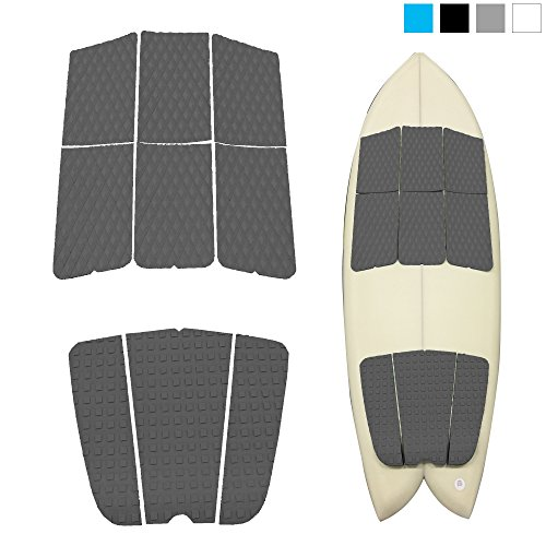 Abahub 9 Piece Surf Deck Traction Pad Premium EVA with Tail Kicker 3M Adhesive for Shortboard Gray (Surf Traction)