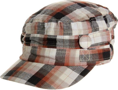 LL Women's Spring Summer Plaid Short Fabric Belts Cadet Caps - Black/Brown