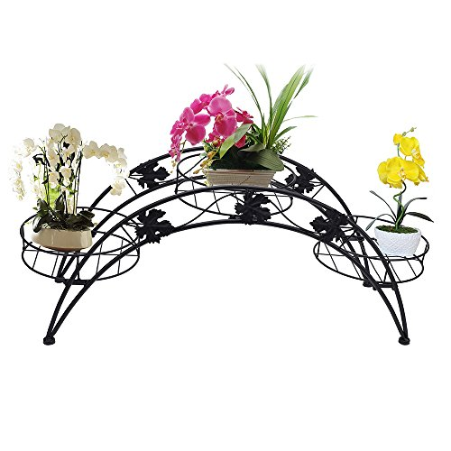 AISHN Metal Potted Planter/Flower Pot Holder Display Rack Stand / Decorative Planter Stand with 3 holders Potted Plant Rack Organizer (Black)