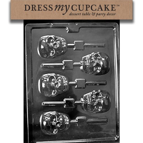 Dress My Cupcake DMCH121 Chocolate Candy Mold, Scary Skull Lollipop, Halloween