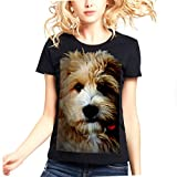 Womens Labradoodle Dog Face 100% Contton Short Sleeves tshirt.