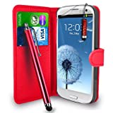 GBOS Samsung Galaxy S3 i9300 - Premium Leather Wallet Flip Case Cover Pouch + Long Touch Stylus Pen + Mini Touch Stylus Pen + Screen Protector & Polishing Cloth (Wallet Red)