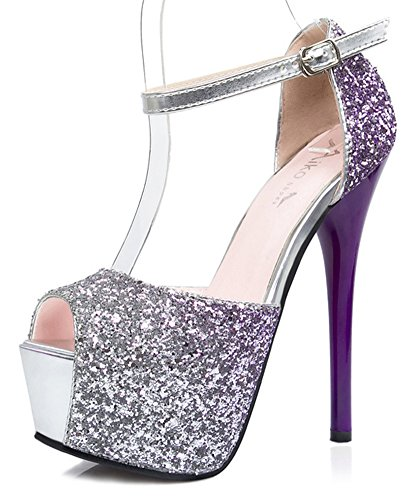 Aisun Ankle Platform Strap Heels Women's Sequins Stiletto Sexy Sandals Purple Spikes arawgq0