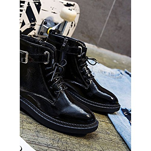 Casual Heel Low PU Black Comfort Fall Calf Women's Boots Combat ZHZNVX Winter Shoes Boots HSXZ Mid Round Boots for Toe Black UPnnvqS