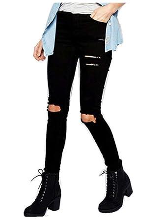 Donna Pantaloni Jeans Da Skinny Neri Bolawoo qp7SHOfw