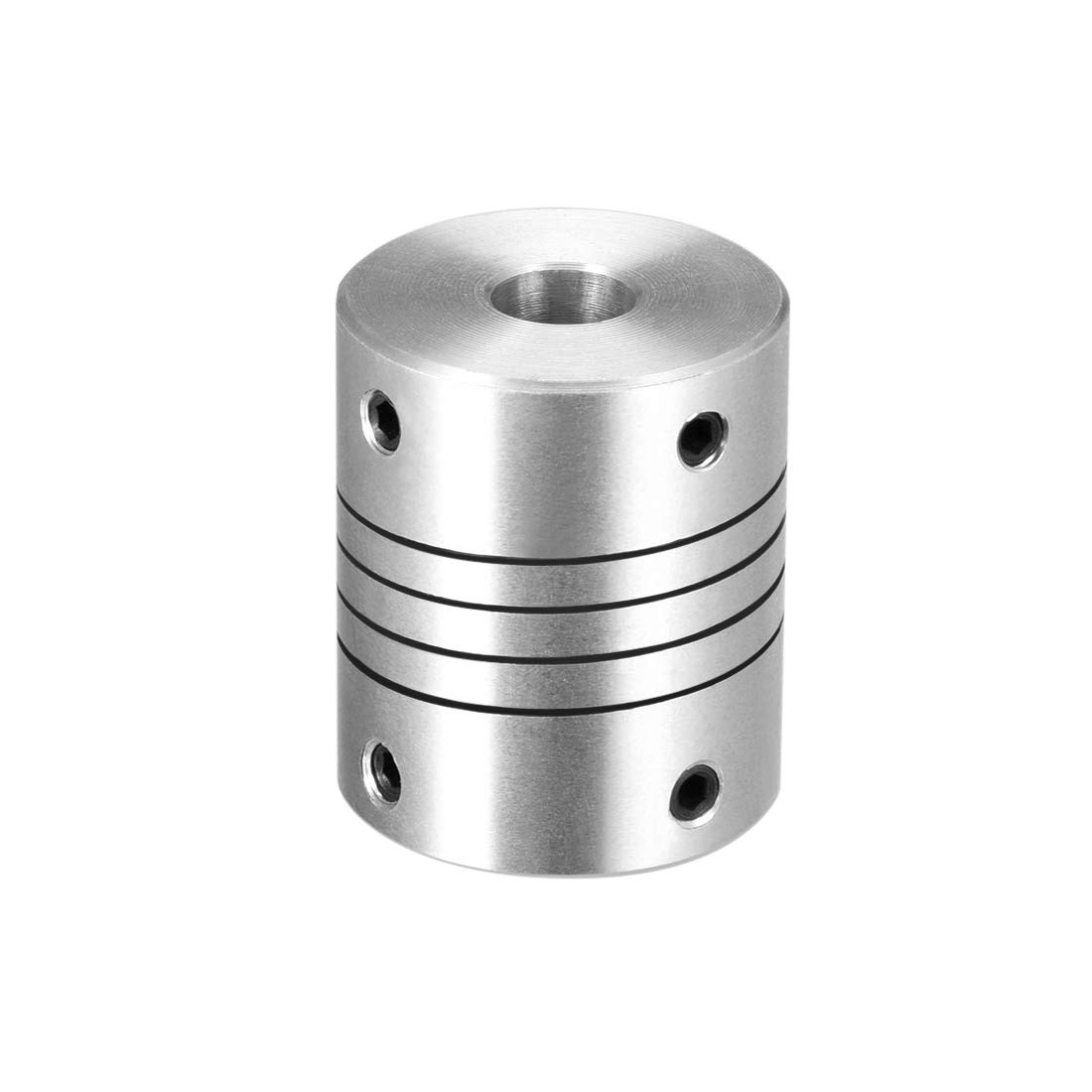 sourcing map 10mm to 10mm Aluminum Alloy Shaft Coupling Flexible Coupler Motor Connector Joint L30xD25 Silver