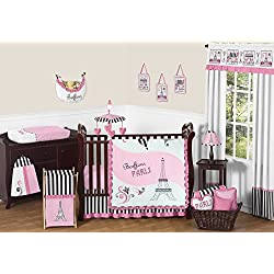 Pink, Black and White Stripe Paris Baby Girl Bedding 11 Piece French Eifell Tower Crib Set without bumper