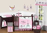 Sweet Jojo Designs 11-Piece Pink, Black and White Stripe Paris Baby Girl Bedding French Eifell Tower Crib Set Without Bumper