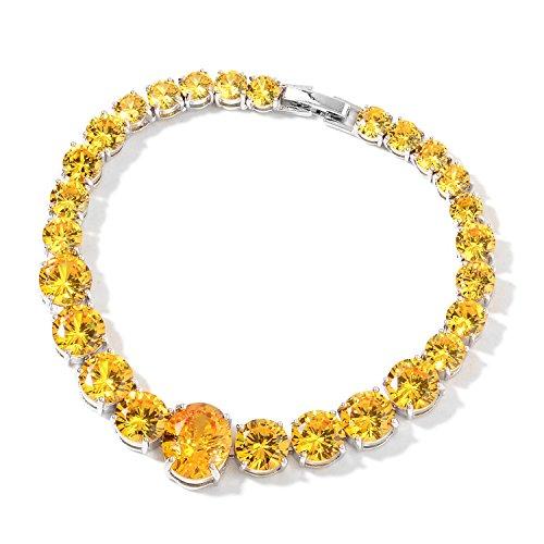 Cubic Zircon CZ Yellow Sapphire Silvertone Line Tennis Bracelet for Women 7.50