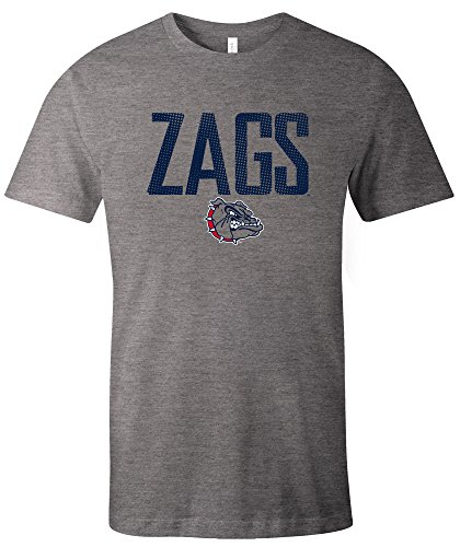NCAA Gonzaga Bulldogs Adult Unisex NCAA Dotted Phrase Short sleeve Triblend T-Shirt,Small,Grey